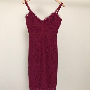 KEEPSAKE lace midi burgundy dress
